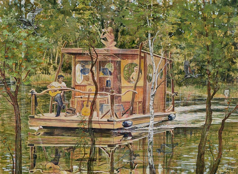 Wassermusik: Acryl auf Eschenholz 48/78 cm