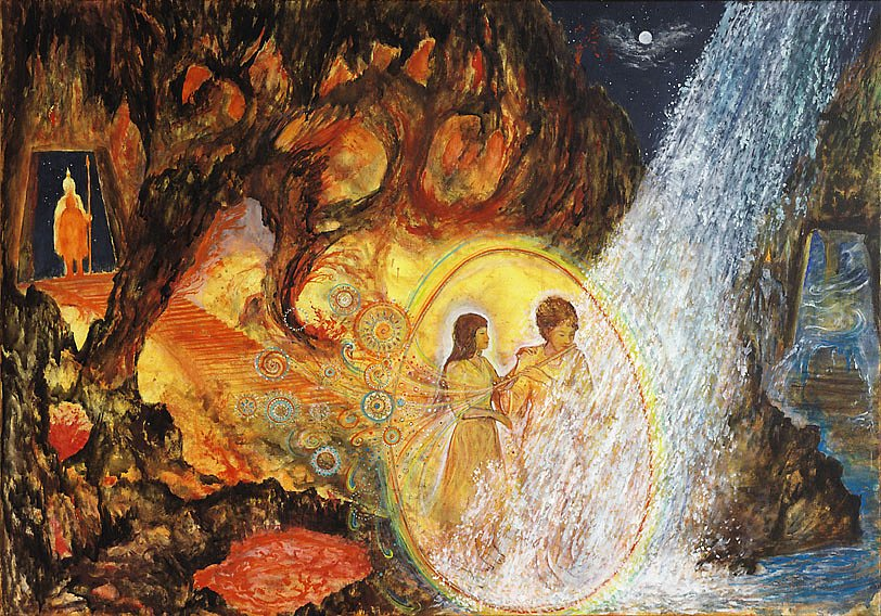 Die Feuer und Wasserprobe   : Acryl auf Leinwand 100 / 70 cm Als letzte Prüfung muss Tamino durch den Feuerberg und den Wasserberg hindurch, was als ein unmögliches Unterfangen erscheint. Auf flehentliches Bitten Paminas nimmt er sie schließlich mit Gemeinsam mit Hilfe der Zauberflöte bestehen sie diese letzte Prüfung.