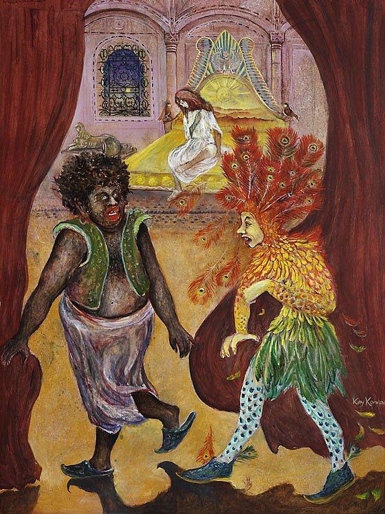 Hu das ist der Teufel sicherlich!: Acryl auf Hartfaser102/ 70 cm  Auf der Suche nach Pamina trifft Papageno auf ihren Wächter Monostatos. Beide sind aufs heftigste erschrocken über das Aussehen ihres Gegenübers und laufen in panischer Flucht davon. Papageno beruhigt sich als erster und flieht mit Pamina.
