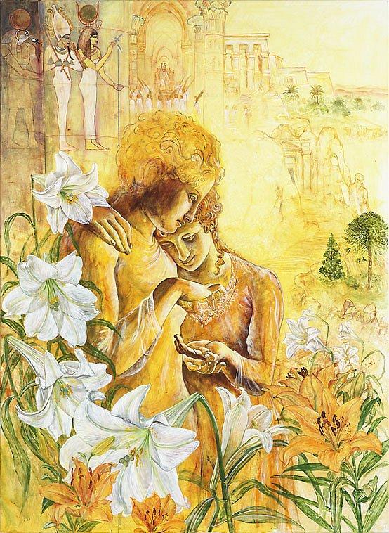 Tamino und Pamina: Acryl auf Eschenholz 96 /  64 cm  Die Einweihung ins Heiligste des Sonnentempels und Hochzeit der beiden.