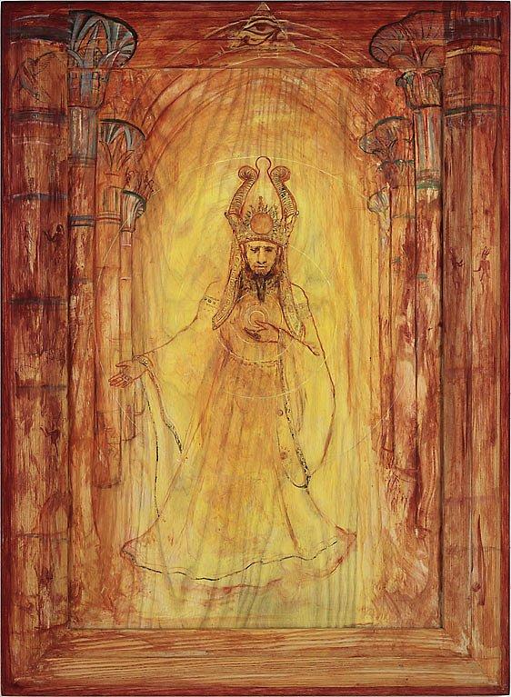 """Sarastro: Acryl auf Eschenholz 84 / 62 cm Sarastro erscheint und entpuppt sich als gütiger Hohepriester des Sonnentempels.Er singt: """"In diesen heilgen Hallen kennt man die Rache nicht!..."""""""