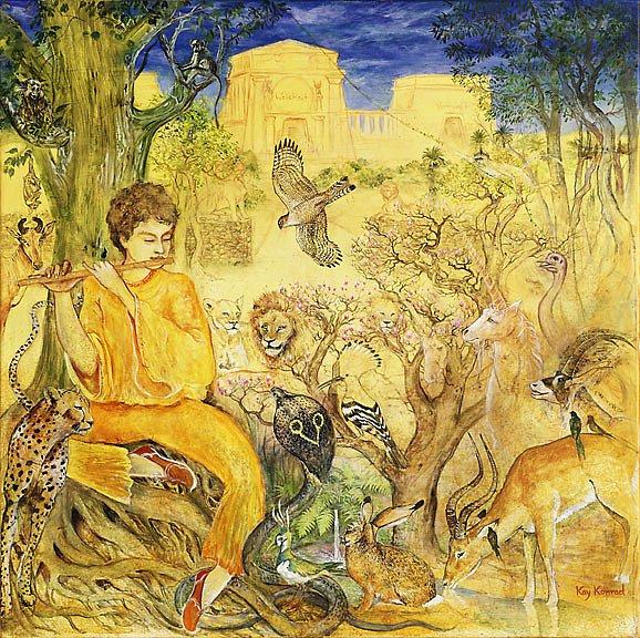 Selbst wilde Tiere Freude fühlen...   : Acryl auf Leinwand 90 / 90cm       Tamino begibt sich auf die Suche nach dem Sonnentempel Sarastros. Als er die Flöte zum ersten mal spielt, erscheinen die wildesten Tiere und lauschen entzückt.