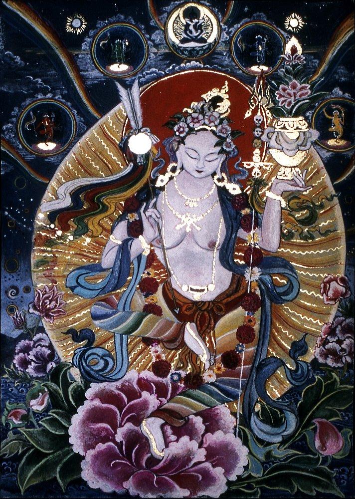 Mandarava: - Dakini des langen Lebens und Gefährtin Padmasambhavas Gouache 34/29cm