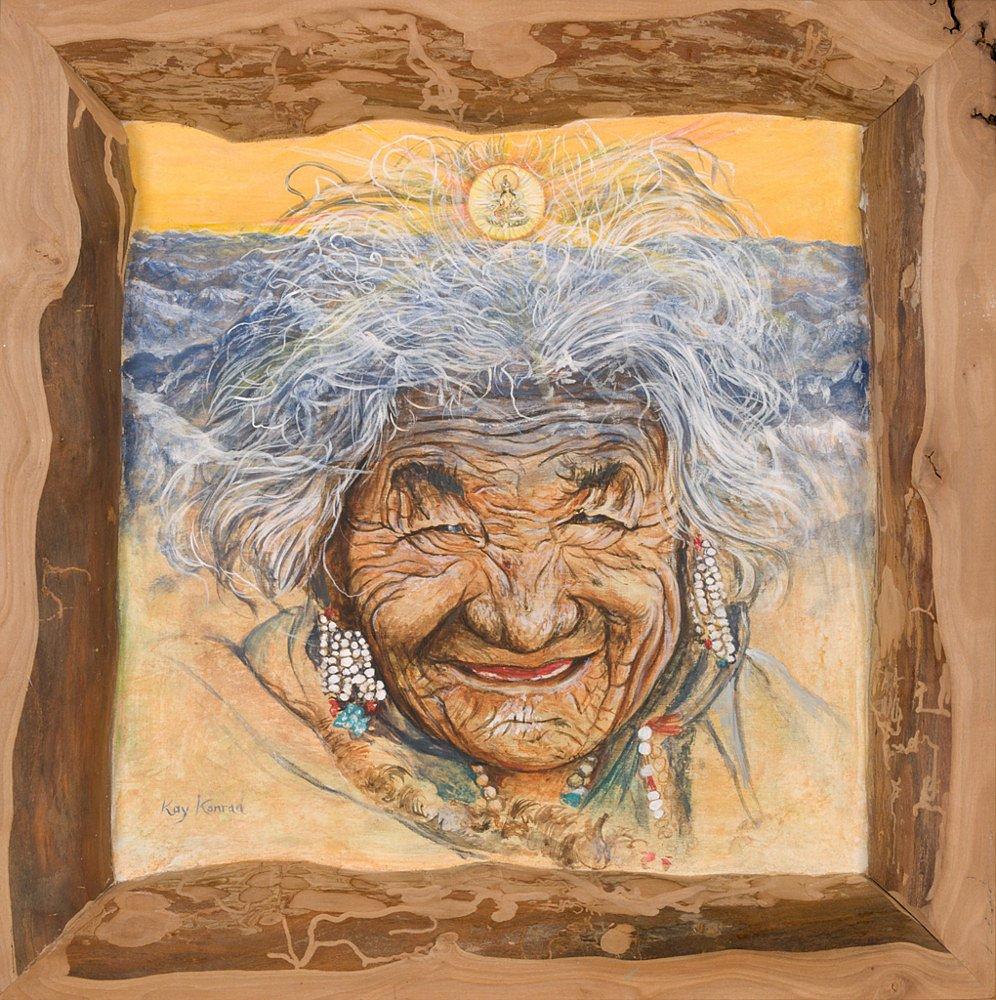 Tibeterin: Acryl auf Holz im Wildapfelrahmen 35/35 cm