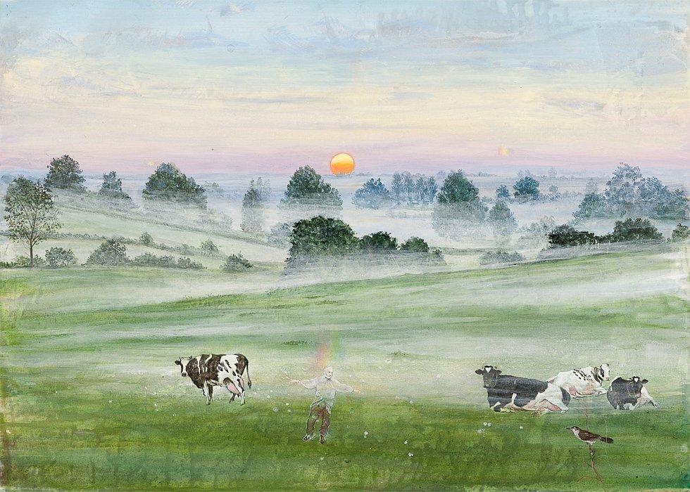 Himmel und Erde: Tanz in den Morgen Acryl auf Leinwand 50/60cm
