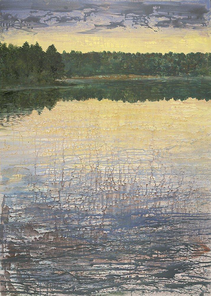 See mit Wald: Acryl auf Leinwand 140 / 100 cm