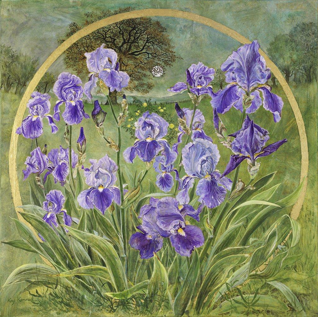 Blaue Iris: Acryl auf Leinwand/ Blattgold                   90 / 90 cm