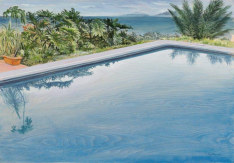Pool: Acryl auf Eschenholz 46 / 67 cm