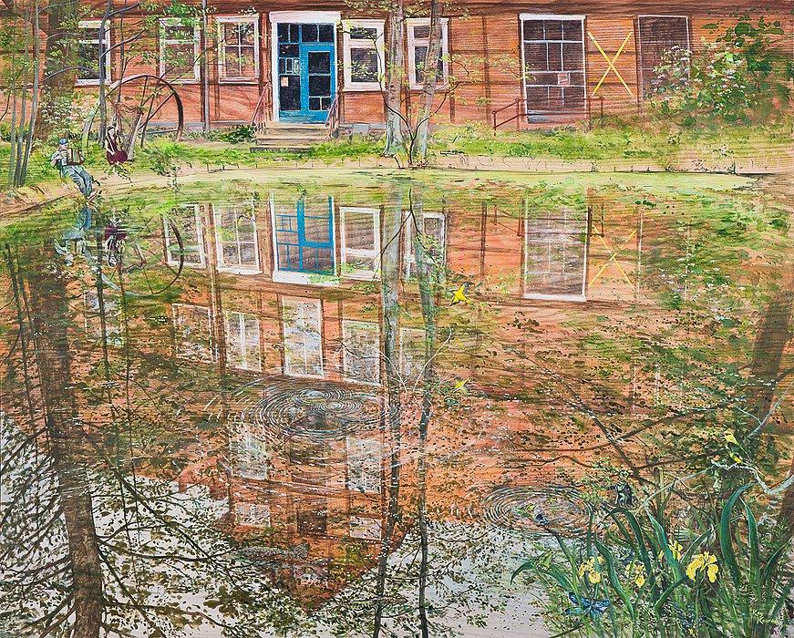 Teichkonzert: Kulturelle Landpartie in der Zeetzer Mühle Acryl auf Eschenholz 122/86cm
