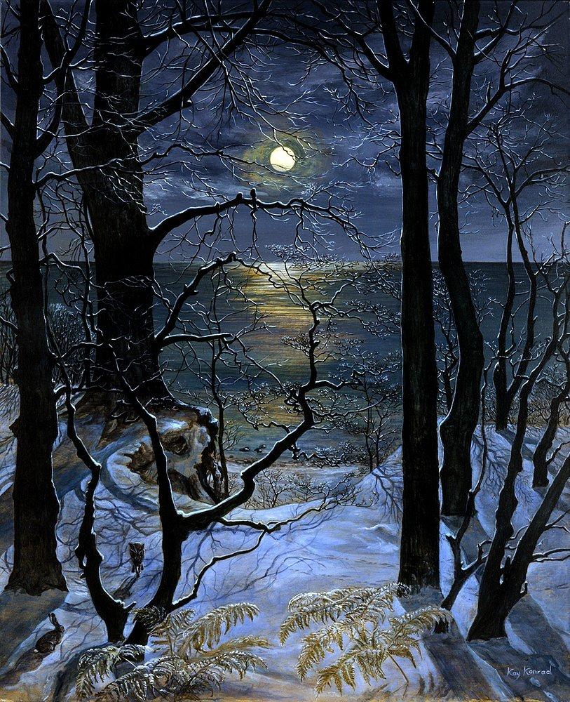 Winternacht: Acryl auf Leinwand 100 / 80 cm auch als Offsetdruck in 80 / 60 cm erhältlich auf Anfrage   die 4 Jahreszeiten  je 70 €
