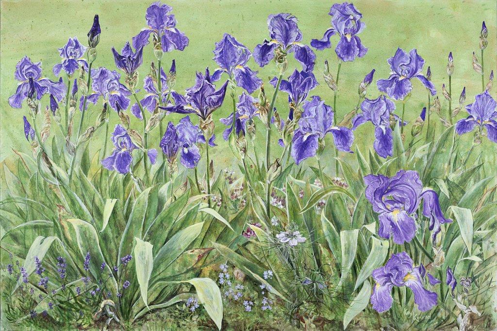 Blaue Iris: Acryl auf Leinwand 120  / 80 cm
