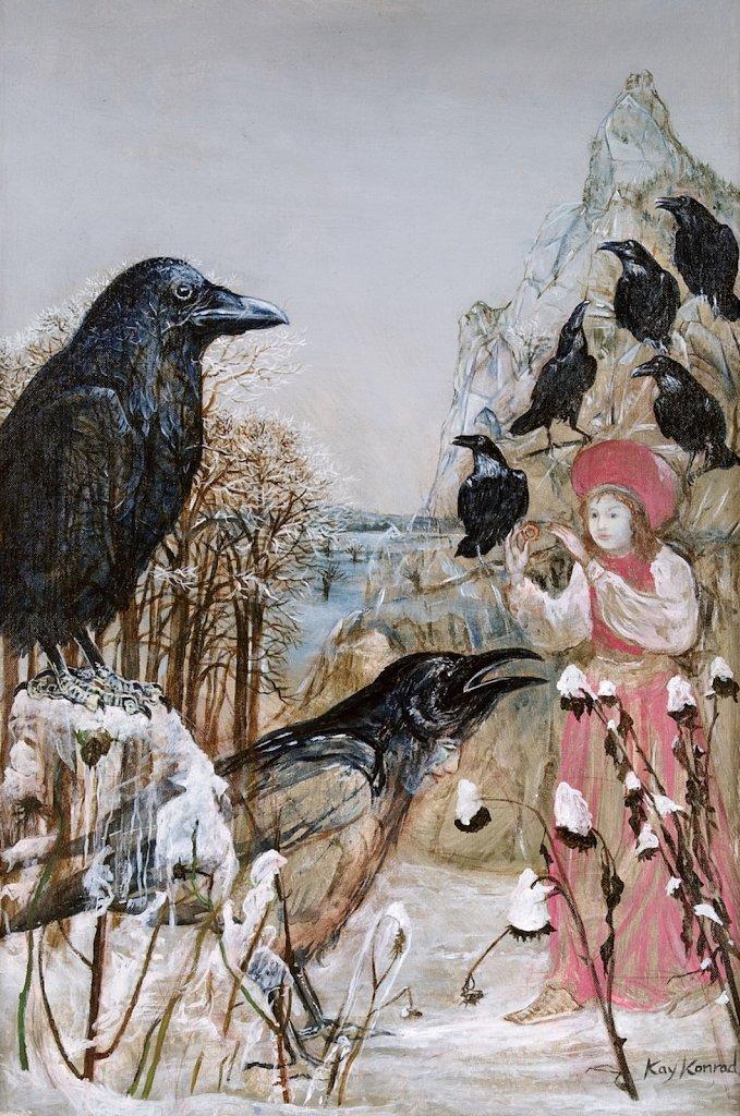 die 7 Raben: nach H.C. Andersen Acryl auf Leinwand 48 / 72 cm
